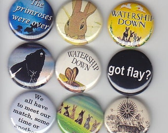 "WATERSHIP DOWN Classic 9  Pinback 1"" Buttons Badges Pins"