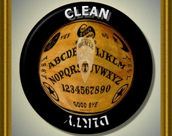 """OUIJA BOARD Mystical Dishwasher Clean/Dirty 2.25"""" large Round  Magnet"""
