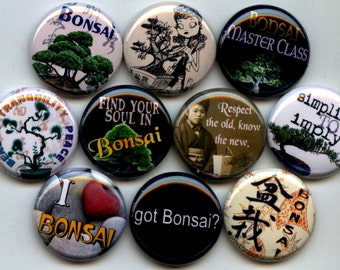 "BONSAI Japanese Garden 10  Pinback 1"" Buttons Badges Pins"