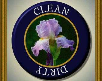 """TENNESSEE IRIS State Flower Dishwasher Clean/Dirty 2.25"""" large Round  Magnet"""