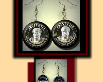 ARISTOTLE Quote Ancient GREEK Philosophy Philosopher Altered Art Dangle Earrings with Rhinestone