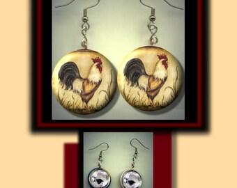 ROOSTER Vintage Beige Altered Art Dangle Earrings with Rhinestone