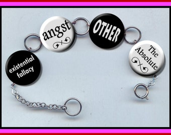 PHILOSOPHY terms Lingo Sociology Altered Art Button Charm Bracelet with Rhinestone