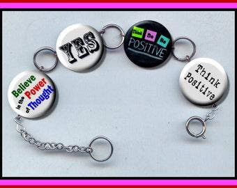 POSITIVE THINKING Think Optimism Altered Art Button Charm Bracelet with Rhinestone