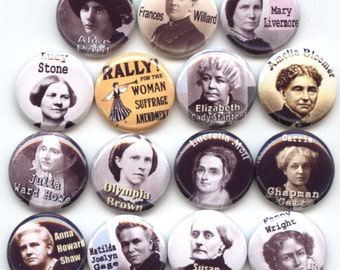 "SUFFRAGE Suffragettes American Feminist Feminism 15 Pinback 1"" Buttons Badges Pins"