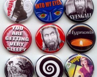 "SVENGALI Hypnotize Mesmerize 9 Pinback 1"" Buttons Badges Pins"