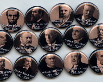 "U.S. American PRESIDENTS 1857-1923 14 Pinback 1"" Buttons Badges Pins"