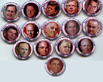 """U.S. American PRESIDENTS 1923-2012 15 Pinback 1"""" Buttons Badges Pins"""
