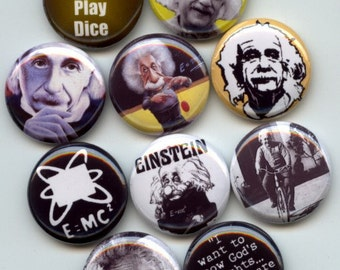 "EINSTEIN Physicist Theory of Relativity 10 Pinback 1"" Buttons Badges Pins"