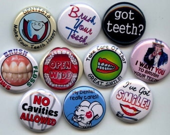 "DENTIST Tooth Doctor 10 Pinback 1"" Buttons Badges Pins"