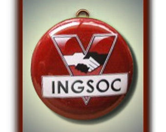 INGSOC 1984 Orwell Altered Art Charm Pendant with Rhinestone