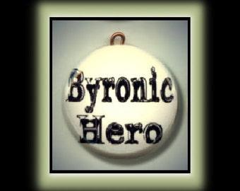 BYRONIC HERO Lord Byron Altered Art Charm Pendant with Rhinestone