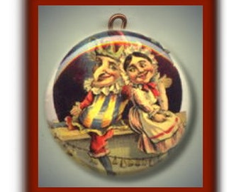PUNCH AND JUDY Altered Art Charm Pendant with Rhinestone