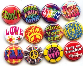"""GROOVY HIPPIE Flower Child, Peace Love  12 Pinback 1"""" Buttons Badges Pins"""