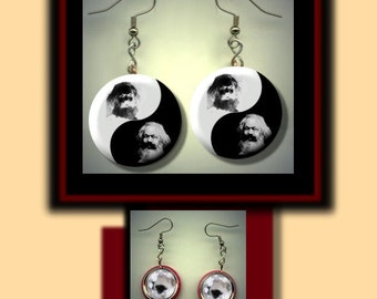 Karl MARX YIN YANG Marxism Marxist Black and White Altered Art Dangle Earrings with Rhinestone