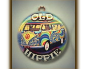 OLD HIPPIE Altered Art Charm Pendant with Rhinestone