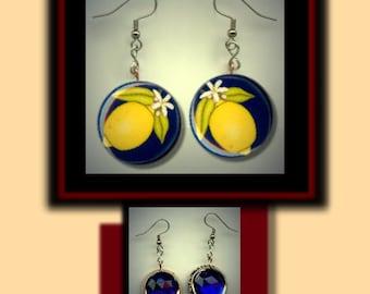 LEMONS Yellow Lemon Altered Art Dangle Earrings with Rhinestone