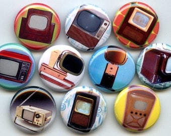 "TELEVISIONS 10 Pinback 1"" Buttons Badges Pins"