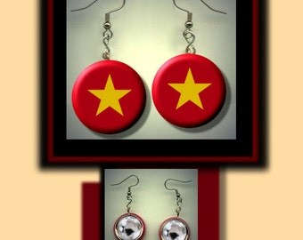 VIETNAM Vietnamese World Flag Altered Art Dangle Earrings with Rhinestone