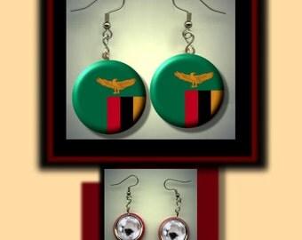ZAMBIA World Flag Altered Art Dangle Earrings with Rhinestone