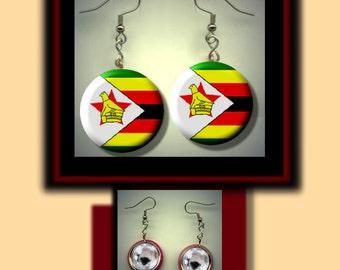 ZIMBABWE World Flag Altered Art Dangle Earrings with Rhinestone