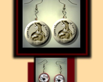 ELEANOR of AQUITAINE Medieval Queen of France England Altered Art Dangle Earrings with Rhinestone