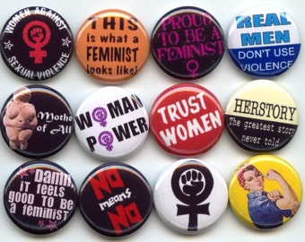 """FEMINIST Feminism Equal Rights 12 Pinback 1"""" Buttons Badges Pins"""