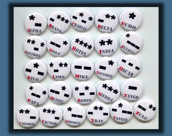 MORSE CODE International ALPHABET Letters Dots and Dashes 26 one inch Fridge Magnets