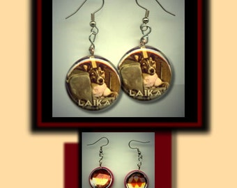 LAIKA Russian Space Dog Astrophysics Altered Art Dangle Earrings with Rhinestone