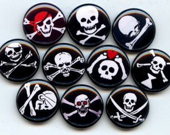 """PIRATE Flags Jolly Roger skull crossbones Pinback 1"""" hand pressed Buttons Badges Pins"""