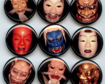 """NOH MASKS Traditional Japanese Theater 9 Pinback 1"""" hand pressed Buttons Badges Pins"""