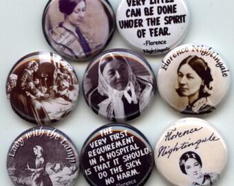 "Florence NIGHTINGALE Crimean War Nurse 8 Hand Pressed Pinback 1"" Buttons Badges Pins"