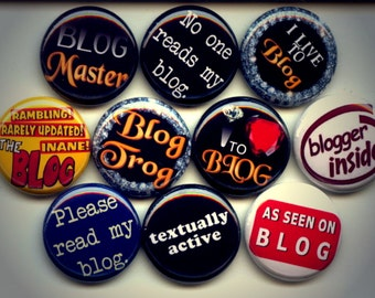 "BLOG I Love Blogging 10 Hand Pressed Pinback 1"" Buttons Badges Pins"