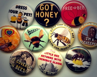 """BEES Honey Bumble Bee Entomology 10 Hand Pressed Pinback 1"""" Buttons Badges Pins"""