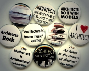 "ARCHITECT Architecture Occupation 10 Hand Pressed Pinback 1"" Buttons Badges Pins"