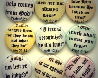 """BIBLE QUOTES Christian Religious 9 Hand Pressed Pinback 1"""" Buttons Badges Pins"""