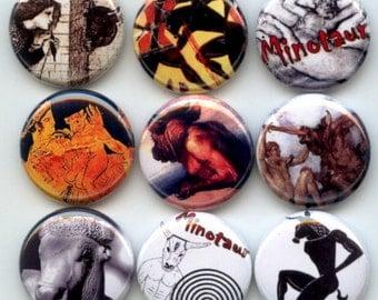 "MINOTAUR Greek Mythology Bull Headed Man 9 Hand Pressed Pinback 1"" Buttons Badges Pins"