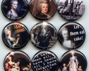 "MARIE ANTOINETTE Queen French Revolution 9 Hand Pressed Pinback 1"" Buttons Badges Pins"