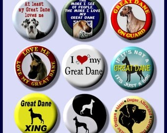 "GREAT DANE Pet Dog 9 Pinback 1"" Buttons Badges Pins"