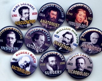 "MEDICAL Discoveries Men of Medicine 10 Pinback 1"" Buttons Badges Pins"