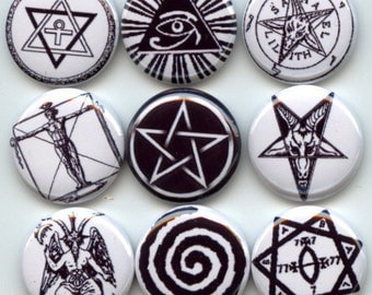 """OCCULT ancient SYMBOLS Signs pagan wicca 9 Pinback 1"""" Buttons Badges Pins"""