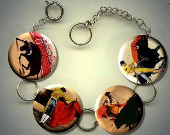 BULLFIGHTING Bullfight MATADOR Bullfighter Charm Bracelet with Rhinestones Altered Art Jewelry