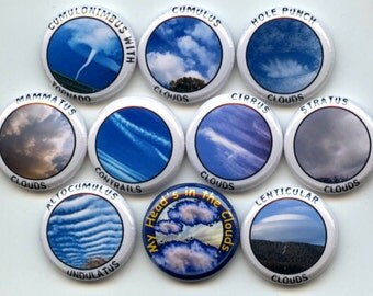 """CLOUDS Formations Meteorology Weather 10 Pinback 1"""" Buttons Badges Pins"""