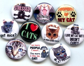 """CATS I love my kitty cat 10 Pinback 1"""" Buttons Badges Pins"""