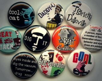 "BEATNIK Beat Generation 10 Pinback 1"" Buttons Badges Pins"