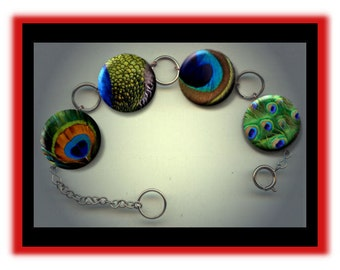 PEACOCK Feathers Exotic Birds Assorted Charm Bracelet with Rhinestones Altered Art Jewelry