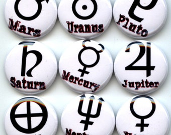 """Planetary symbols signs Planets 9 Pinback 1"""" Buttons Badges Pins"""