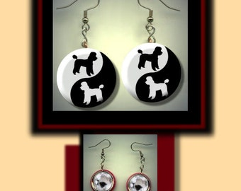 POODLE Pet Dog Silhouette Yin Yang symbol Black and White Altered Art Dangle Earrings with Rhinestone