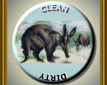 "AARDVARK animal Dishwasher Clean/Dirty 2.25"" large Round  Magnet"