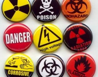 "WARNING DANGER Signs Symbols 9 Pinback 1"" Buttons Badges Pins"